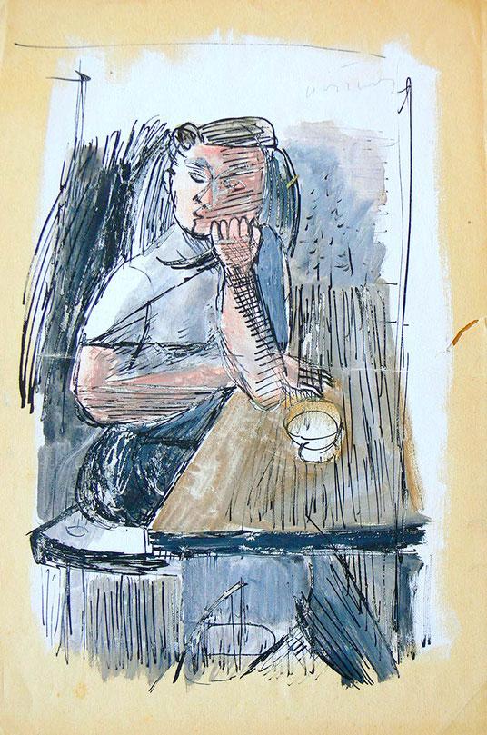 Hans Potthof Gouache Homage à Picasso
