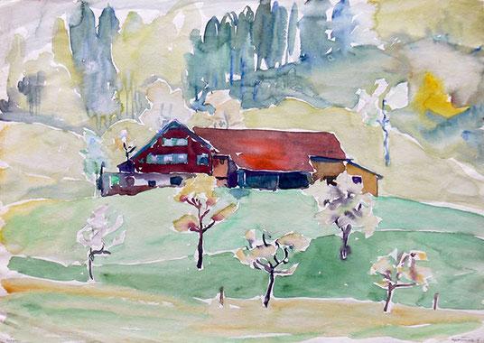 Hans Potthof Aquarell Bauernhaus mit Scheune