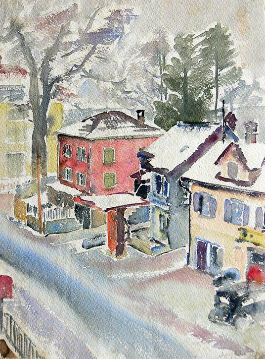 Hans Potthof Aquarell Rotes Haus