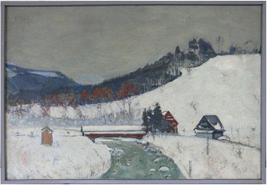 Hans Potthof Original Schneelandschaft in Öl