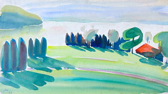 Hans Potthof Aquarell Zuger Landschaft