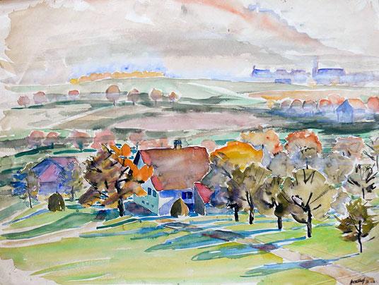 Hans Potthof Aquarell Weite Landschaft