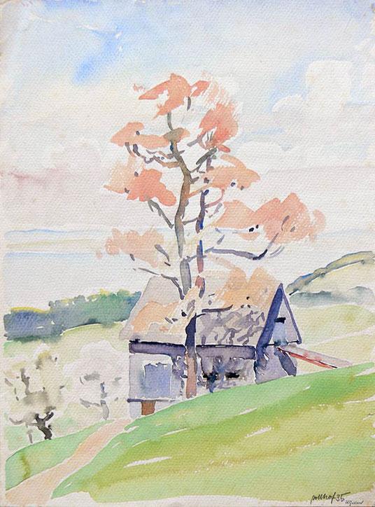 Hans Potthof Aquarell Baum vor Scheune