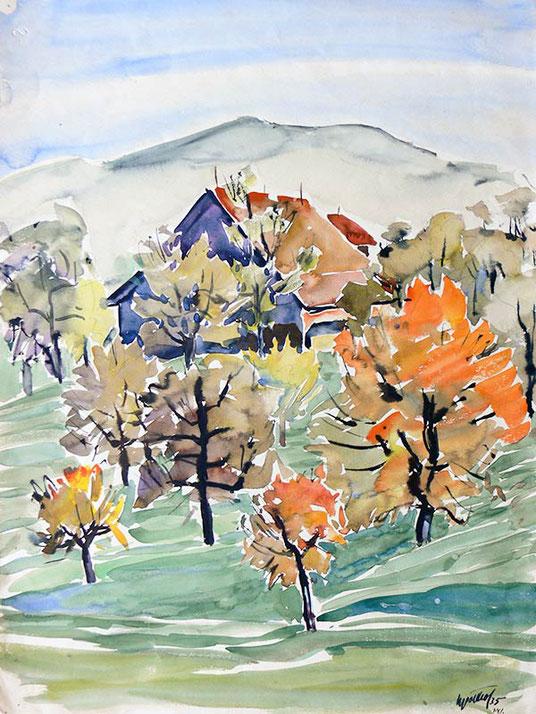 Hans Potthof Aquarell Herbstlandschaft