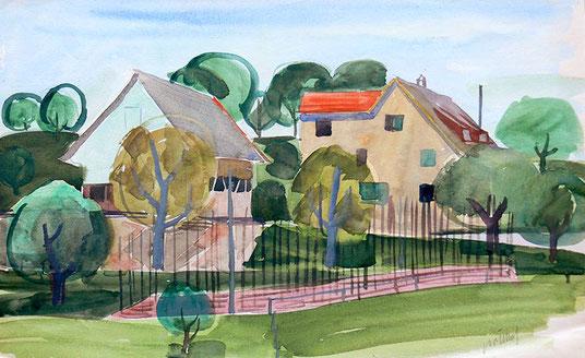 Hans Potthof Aquarell Zwei Häuser