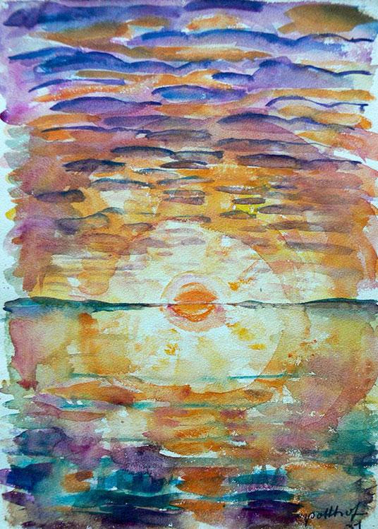 Hans Potthof Aquarell Sonnenuntergang am Zugersee