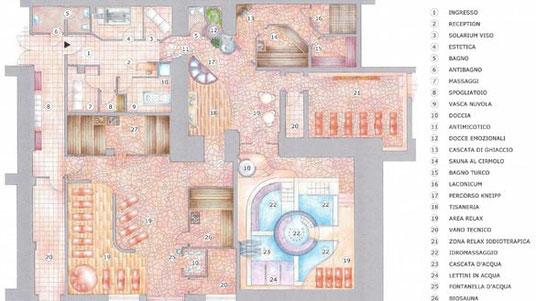 Mappa del centro benessere dellHotel Adler