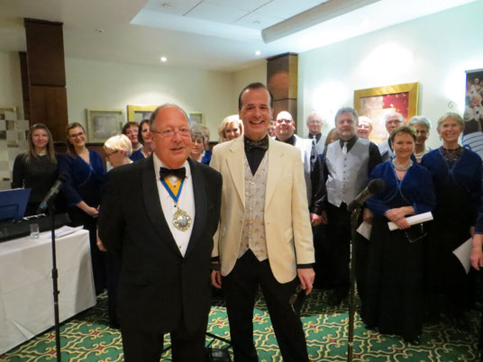 Mayor of Bournemouth with the Wessex Chorus choir at the Burns Night dinner.