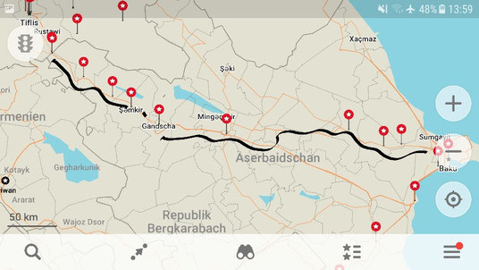 Our route through Azerbaijan