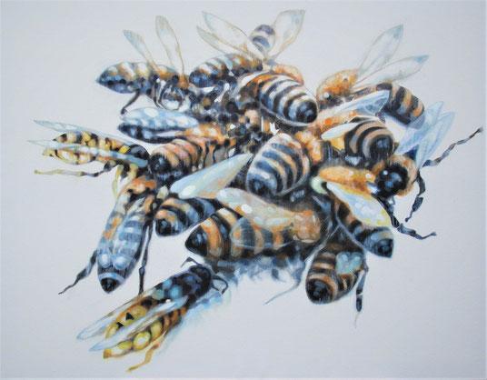 Manfred Maria Rubrecht, Wildbienen, 2020, Öl auf Leinwand, 60 x 70 cm