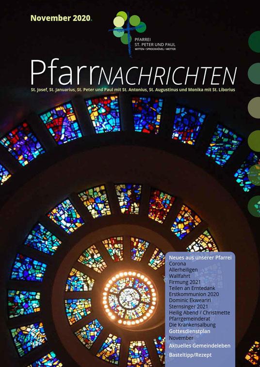 Titelseite der Pfarrnachrichten November 2020