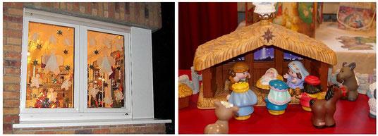 Adventsfenster und Krippe