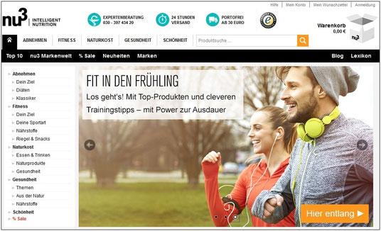 So sieht sie aktuell aus, die Startseite von www.nu3.de.