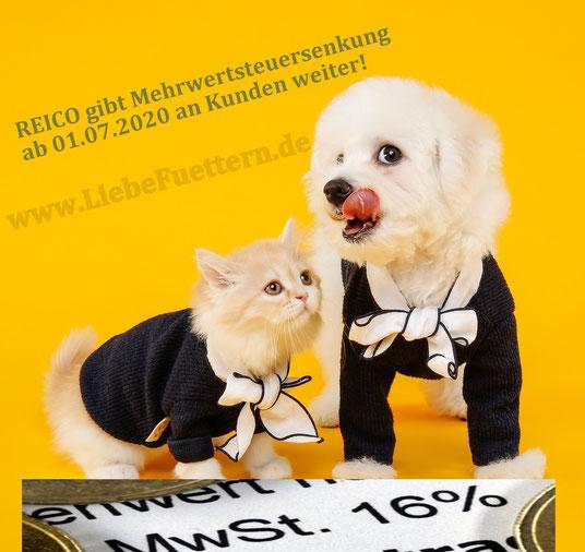 Reico Tiernahrung Hundefutter und Katzenfutter - MwSt Senkung ab Juli 2020