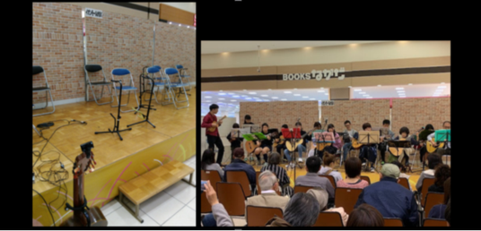 かほく市のショッピングモールにてウクレレ&ギターオーケストラ☆