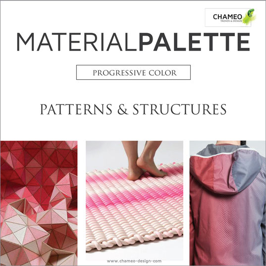 Material palette CMF color material design pattern & structures progressive color