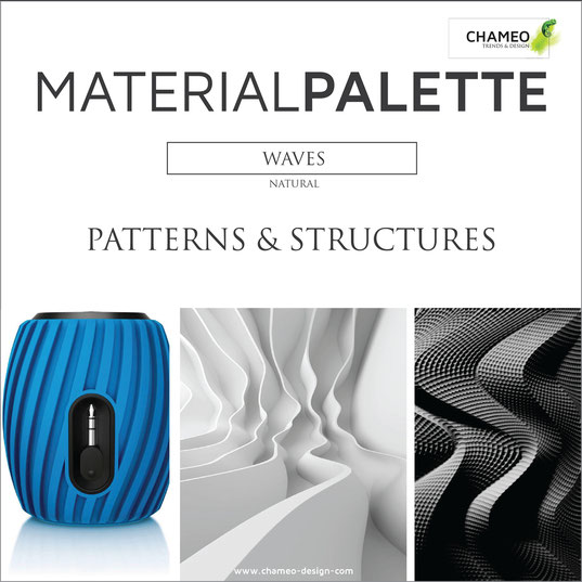 Material palette CMF color material design waves natural patterns structures