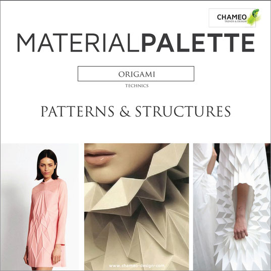 Material palette CMF color material design pattern & structures paper origami