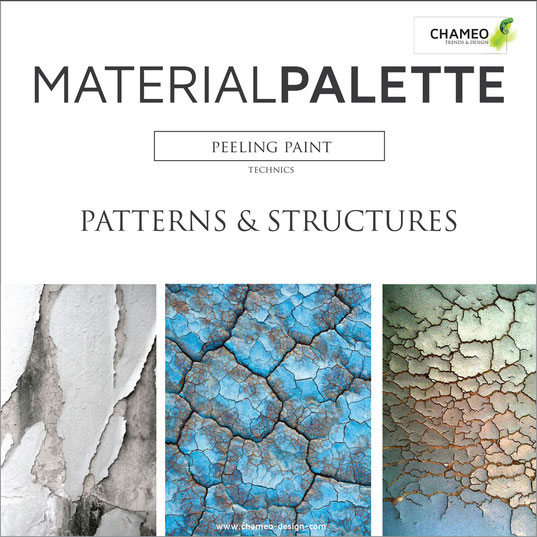 Material palette CMF color material design pattern & structures peeling paint