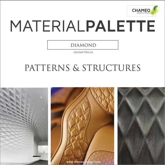 Material palette CMF color material design pattern & structures diamond