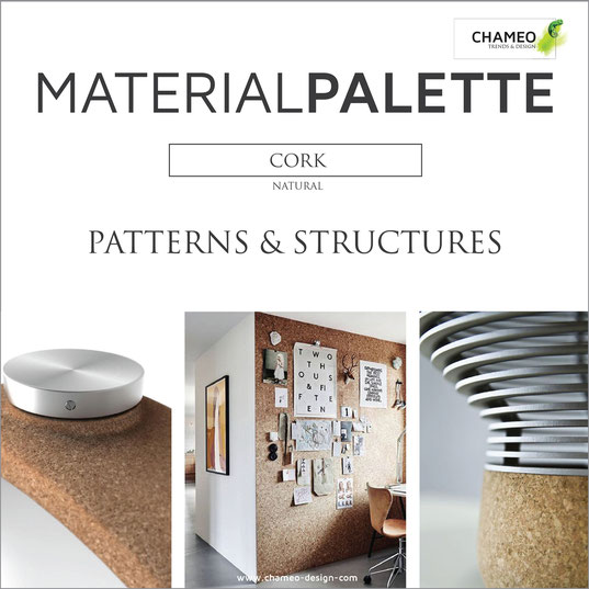 Material palette CMF color material design pattern & structures cork natural