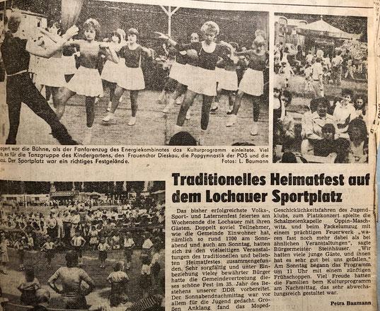 Zeitungsbericht zum Heimatfest von 1984