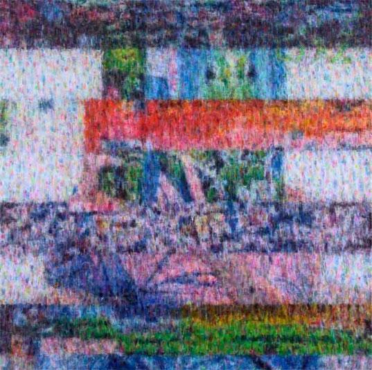 Compound Eye(glich,block noise image), 150x150cm, oil on canvas, 2010