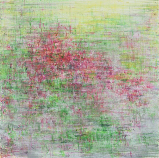 Dyptich Image/Signal Signal(cherry blossom) 65.2x65.2cm, oil on canvas, 2005