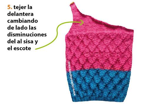 Cómo tejer una camiseta con un hombro en dos agujas o palitos para niñas