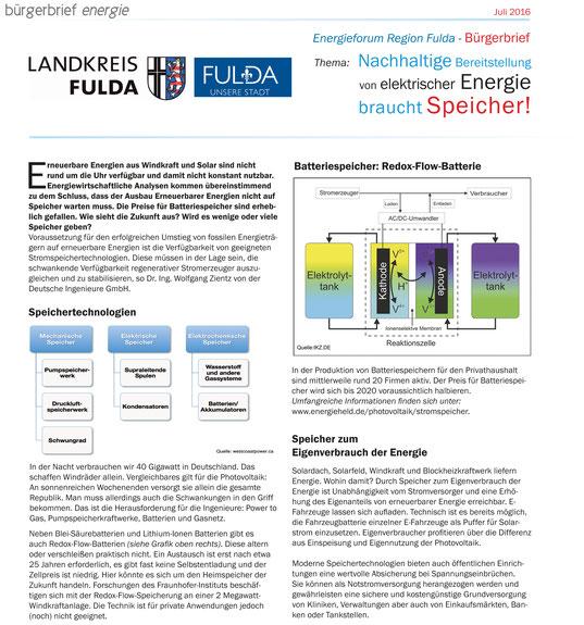 Bürgerbrief Energie Landkreis Fulda Speicher Batterien