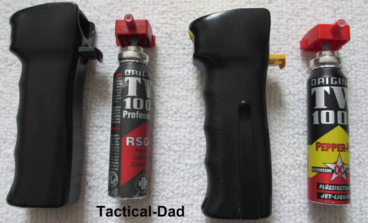 Behörden Reizstoffsprühgerät (verbotener Gegenstand) links, und das Tierabwehrspray rechts