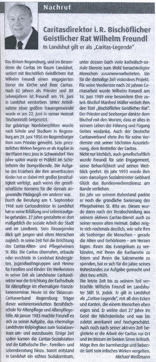 Quelle: Regensburger Bistumsblatt 26. KW 2018