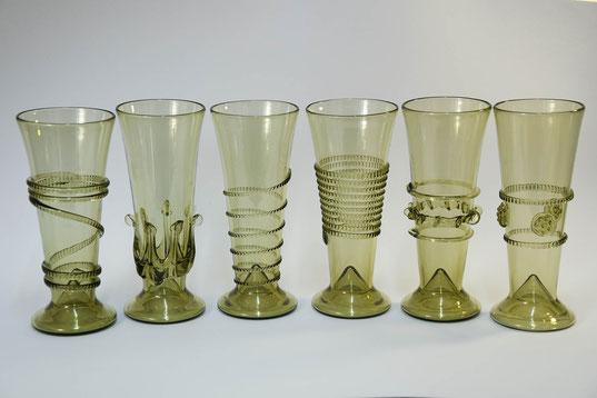 Böhmisches Waldglas , Mittelalter Weinglas, mundgeblasene Gläser , Böhmen Glas , Schmuckglas, handmade , Glas Set