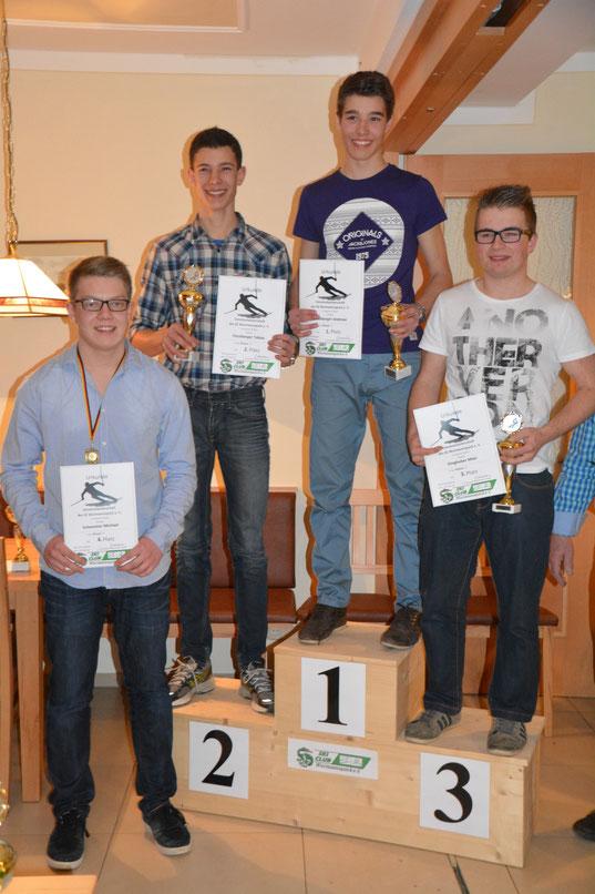 Vereinsmeister Andreas Fürstberger (mitte), Zweiter: Tobias Fürstberger, Dritter: Maxi Ginghuber, Vierter: Michael Schemmer