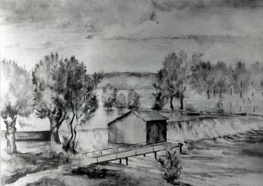 Das Badehaus (mit zwei Kabinen) nach einer Zeichnung von Otto Exsternbrink