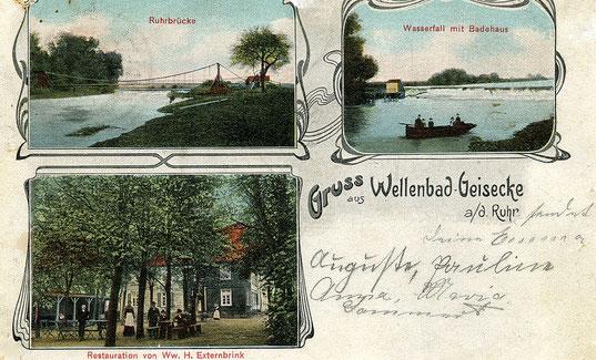 Postkarte vom Wellenbad mit Hängebrücke und Badehaus