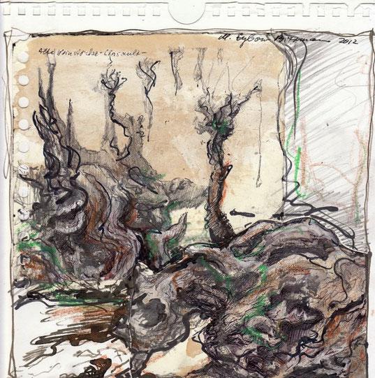 Cinsault. Das war einmal die Traubensorte, die auf diesen abgestorbenen Rebstöcken wuchs. Verbrennt man sie in einem Kamin, so nehmen ihre verschlungen Formen im Feuertod noch ein letztes Mal Leben an.