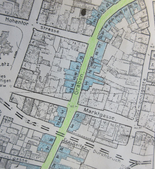 Ausschnitt des Stadtplans vor 1943 (die Nr. 56 ist etwa da wo die Biegung der Straße beginnt)
