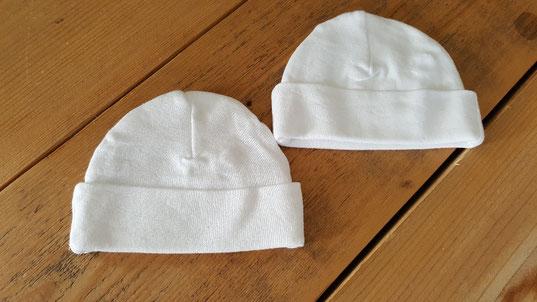 Babymutsje te bedrukken met naam of tekst naar keuze al voor € 6,95