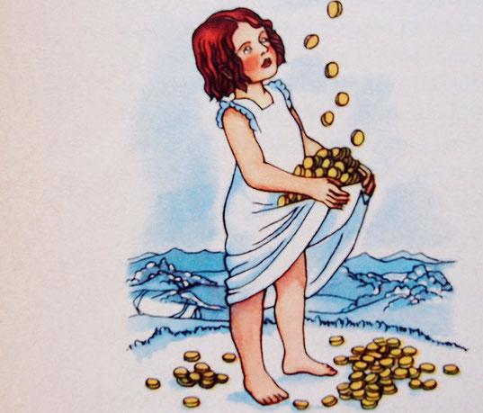 Bild vom Sterntaler aus Grimms Märchenbuch
