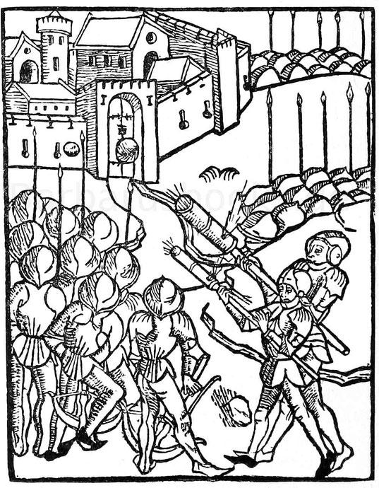 Die ältesten Handbüchsen. Holzschnitt aus Rudimentum Noviciorum. Lübeck, Brandis, 1475.
