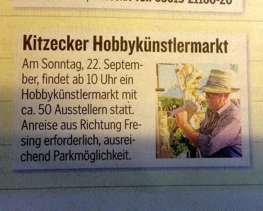 Ankündigung Kleine Zeitung für den Kitzecker Hobbykünstlermarkt 2013!