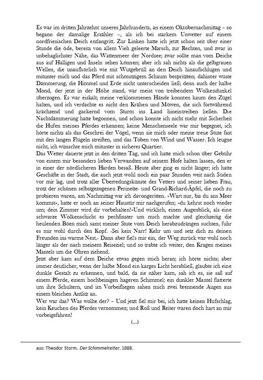 Auszug aus Theodor Storm Der Schimmelreiter