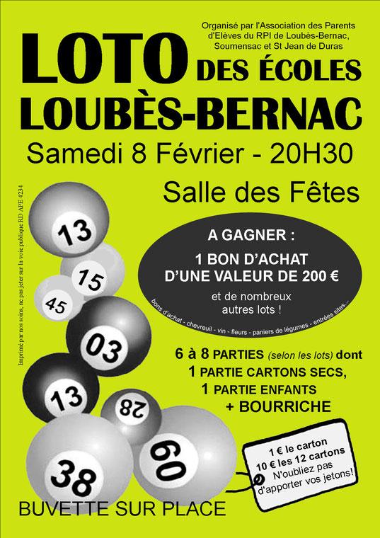 Loto des écoles, le 07 février 2015 à Loubès-Bernac