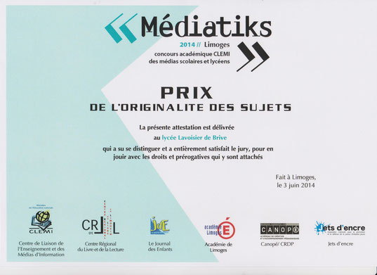 Prix Mediatiks 2014 remis le mardi 03 juin 2014 par le CLEMI au LVSmag à Limoges