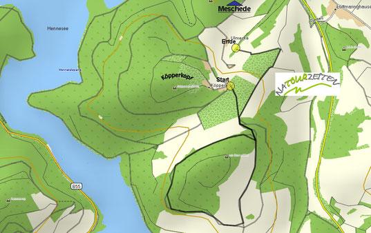 GPS Karte mit Tour am Köpperkopf, 59872 Meschede