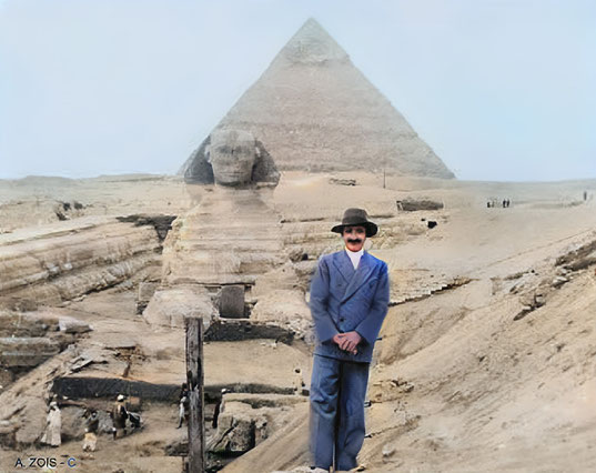 4. Meher Baba at The Sphinx & Pyramid of Chephrum at Gizeh, Cairo, Egypt - Jan.1st, 1933.