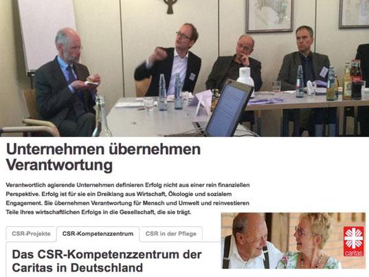 Andreas Neukirch, Vorstand der nachhaltigkeitspositionierten GLS Bank (1. von links), und Tom Veltmann, Marken- und CSR-Experte (2. von links)