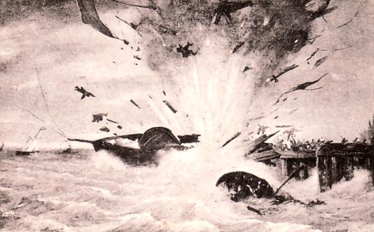 Die Explosion von Van Speijks Schiff