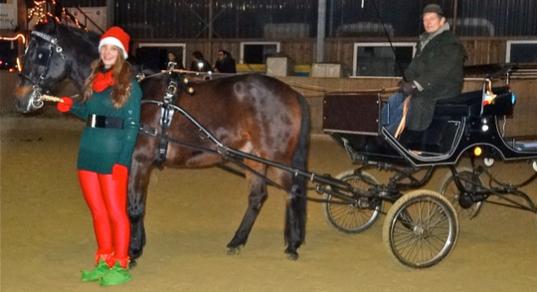 Dante brachte den Nikolaus am 7.Dezember 2013  mit seiner Kutsche in die Reiterschaft, begleitet von einem Weihnachtself (Michelle) und seinem Kutscher (Christian).